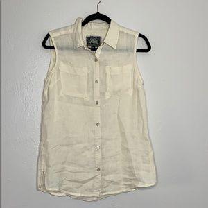 Roots cream sleeveless button down linen shirt M